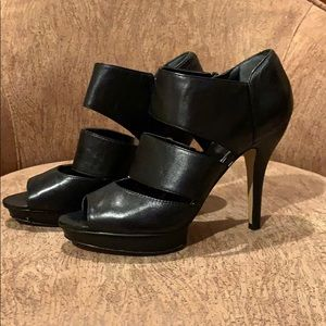 Nine West Black Side-Zip Platform Heels